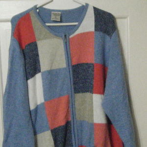 Multi Colored Zip Front Sweater Cardigan 3X